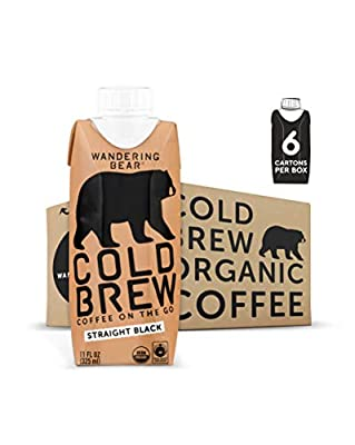 Wandering Bear Extra Strong Organic Cold Brew Coffee On-the-Go, Straight Black, 11 fl oz, 6 pack - Smooth, Organic, Unsweetened, Shelf-Stable, and Ready to Drink