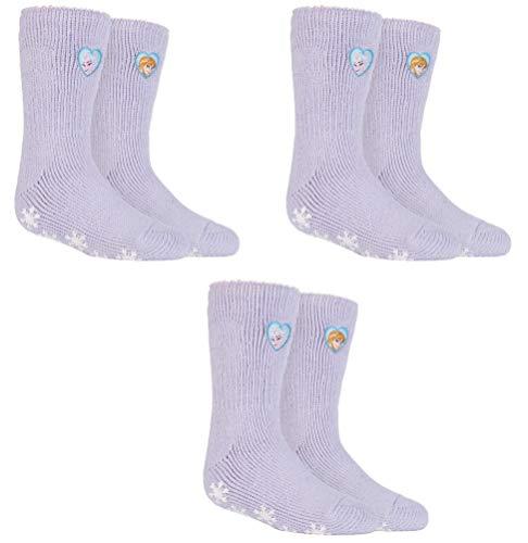 HEAT HOLDERS 3 Paar Mädchen Thermo-Slipper Grip-Socken mit Aufschrift, Größe UK 12½-3½ EUR 31-36, 3 Pairs Frozen Princess