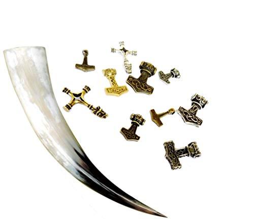 Juego de cuerno de beber, en diferentes tamaños incluye colgante - para hidromiel - Vikingos - Edad Media -Juego de rol LARP - de cuerno de vacuno, decoración, idea para regalo, 0,4 L
