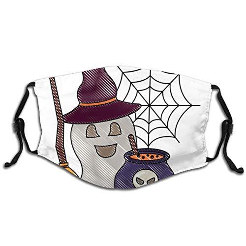 Halloween-Geist mit Hut und Besen Kessel, 5 Schichten, austauschbarer Aktivkohlefilter, Staub, verstellbar, Halbe Gesichtsabdeckung, Balaclava Bandanas für Outdoor, 1 Stück