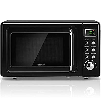 ARLIME Retro Countertop Microwave Oven, 0.7 Cu. Ft, 700-Watt, LCD Display, with Glass Turntable & Viewing Window, Child Safety Lock, Stainless Steel (Black)