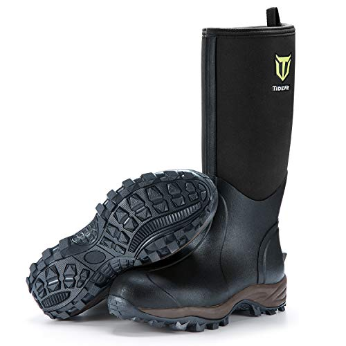 TideWe Rubber Neoprene Boots Men and Women, Waterproof Durable 6mm Neoprene Boot, Rain Boot Muck Hunting Boot Arctic Outdoor Boot Men Size 11 Black (Ger Ⅱ)