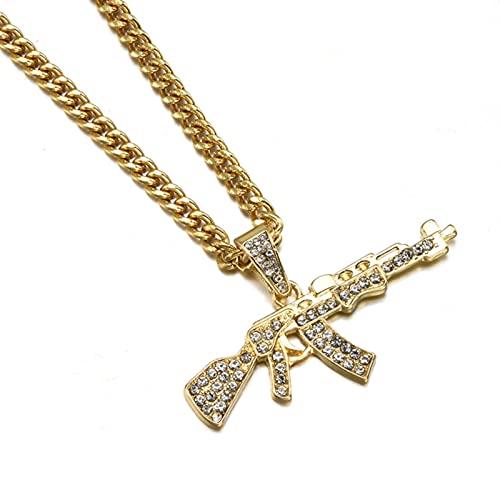 Collares Gargantilla de Moda para Mujer, Colgante de Cruz con Pistola, Collar de Cadena de Diamantes de imitación de Cristal, Cadenas Punk para Hombres y Mujeres, Regalo de joyería