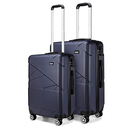Kono 2 Pcs Set Lightweight Suitcase Carry on Luggage 20'+24' Hard Shell Trolley with Combination Lock (Navy)