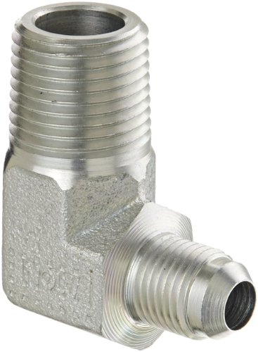 Eaton Aeroquip 2024-8-6S 90 Degree Male Elbow, JIC 37 Degree & NPT End Types, Carbon Steel, 1/2 NPT(m) x 3/8 JIC(m) End Size, 3/8