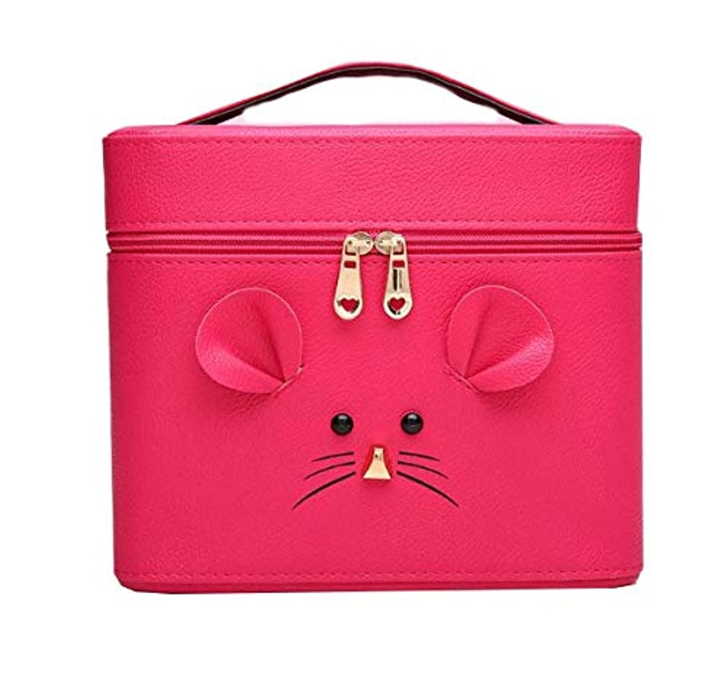 カウンターパートり脅かす化粧箱、ローズレッド漫画マウス化粧ケース、ポータブル旅行化粧品ケース、美容ネイルジュエリー収納ボックス (Size : M)