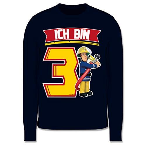 Shirtracer Feuerwehrmann Sam Jungen - Ich Bin 3 - Sam - 104 (3/4 Jahre) - Navy Blau - Feuerwehrmann Sam - JH030K - Kinder Pullover