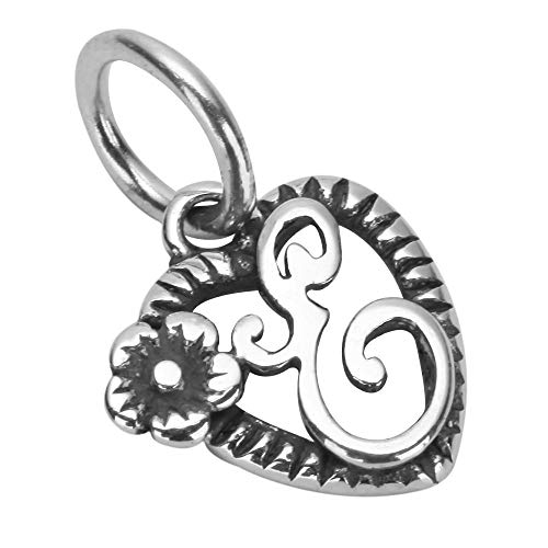 1 x Letter E on Beautiful Flowery Heart Sterling Silver Initial Charm Bead for Jewelry Craft Making Women Girls Mother's Gifts EC661