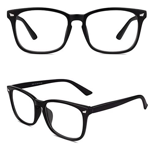 CGID CN82 Retro Anteojos Lente Claro Gafas Para Mujer y Hombre,Mate Negro