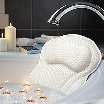 AmazeFan Luxury Bath Pillow, Ergonomic Bathtub Spa Pillow with 4D Air Mesh Technology and 6 Suction Cups, Helps Support Head, Back, Shoulder and Neck, Fits All Bathtub, Hot Tub and Home Spa