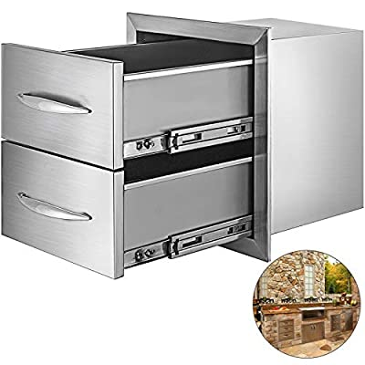 Mophorn 18x20.6 Inch Outdoor Kitchen Drawers Stainless Steel with Chrome Handle for BBQ, 18 x 20.6 x 12.7 Inch