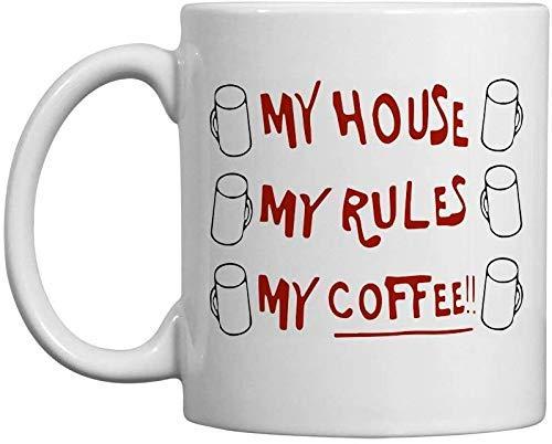 N\A Taza Famosa de Badass de Knives out My House My Rules My Coffee Mug - Regalo Blanco de 11 oz para Amigos, Amantes, Familiares en Navidad, cumpleaños, San Valentín