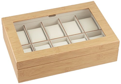 Mele & Co. Logan Glass Top Wooden Watch Box, 11 3/4 x 7 7/8 x 3 1/8 inches