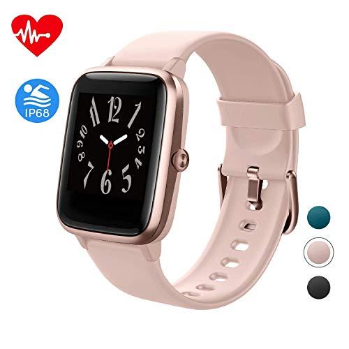 Smartwatch, Damen Herren Fitness Armbanduhr, Smart Watch IP68 Wasserdicht Fitness Tracker, 1.3-Zoll Touchscreen Fitnessuhr mit Schrittzähler, Schlafmonitor, Musiksteuerfunktion Sportuhr für iOS Android