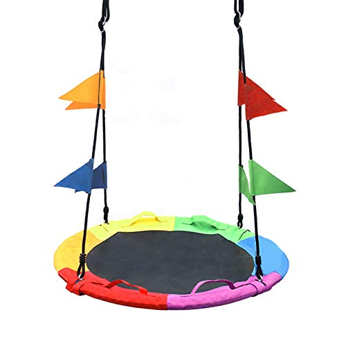 """SURPCOS Saucer Swing for Kids Outdoor with Handle - Round Outdoor Swings for Swingset - Large Tree Swings for Children with Hanging Kit - Heavy Duty Children Disk Swing for Outside, 40"""" (Rainbow)"""