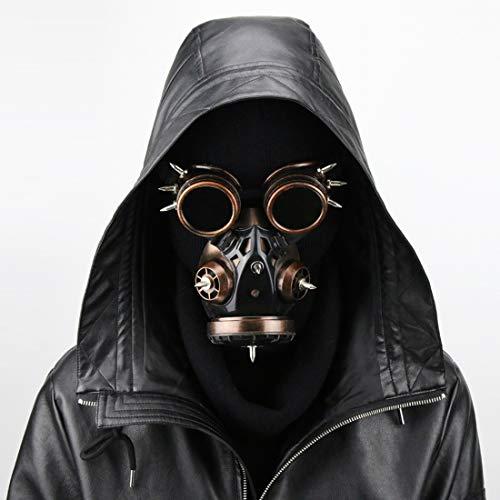 SHIZHESHOP Biohazard Steampunk Máscara de Gas Gafas Espigas Esqueleto Guerrero Máscara de la Muerte Mascarada Cosplay Disfraces de Disfraces de Halloween (Color : Bronze)