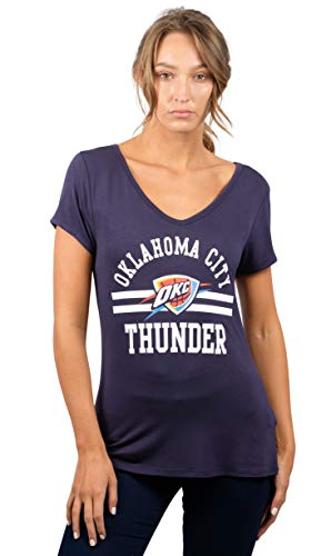 Ultra Game NBA Oklahoma City Thunder Womens Box Out Varsity Stripe Tee Shirt, Team Color, Large