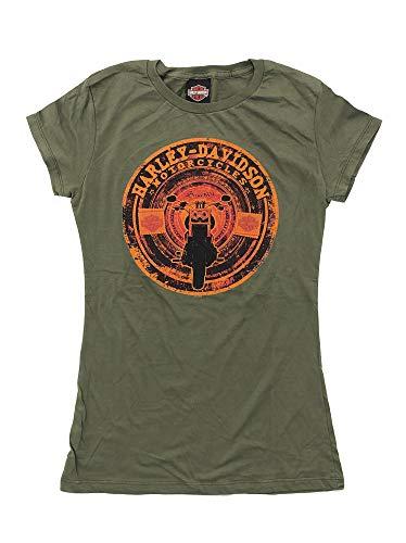 HARLEY-DAVIDSON Original HD Damen T-Shirt Tank Top für Biker - Vintage Patch Print Harley T-Shirt für Biker Ladys - Oliv, Größe:XL