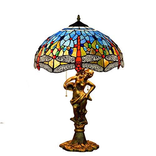 BINGFANG-W Dormitorio 16 Pulgadas lámpara de Escritorio mediterránea Europea Azul del Esmalte de Stained Glass Bar del Hotel Sala Comedor Dormitorio Estilo Tiffany Lámpara de Mesa Cubierta de Belleza