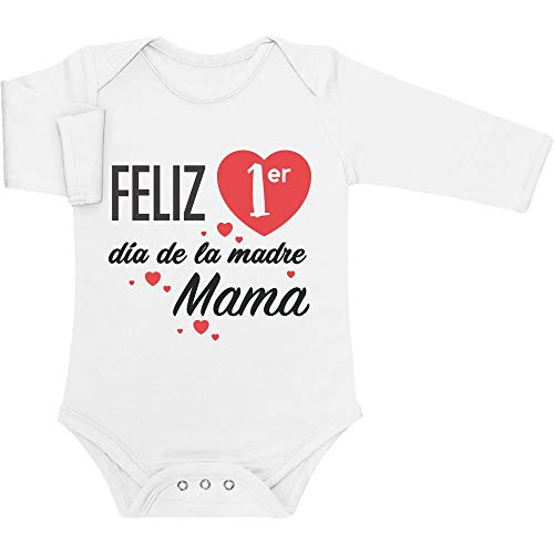 Body de Manga Larga para bebé - Regalo Feliz Primer Mamá día de la Madre 3-6 Meses Blanco