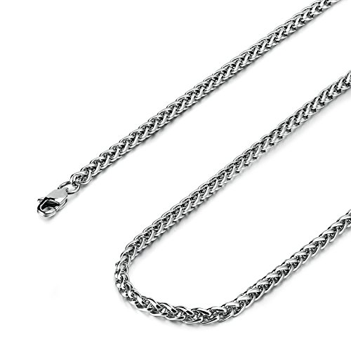 Besteel Jewelry Mens Womens Stainless Steel Wheat Necklace Chain Link 24 Inch
