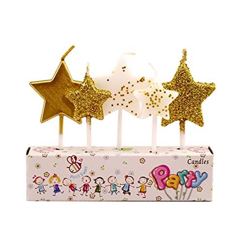 5 Pezzi Oro Star Candele per Torta, Candele di compleanno, per Matrimonio Compleanno Decorazione Torta