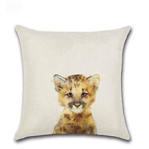 Funda de almohada de lino y algodón para cojín, diseño moderno y simple, cuadrado, diseño de zorro, oso y gato, funda de almohada para silla, para el hogar y la vida