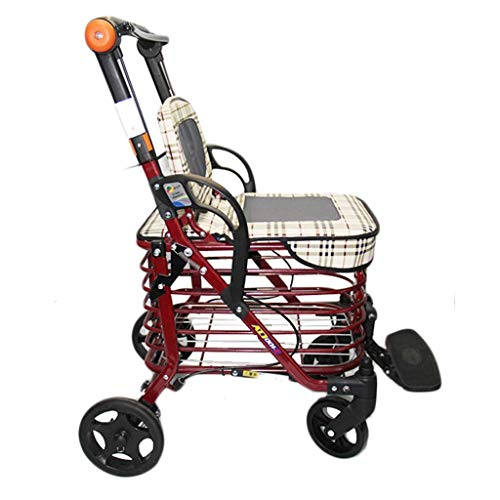 Mnjin Wheelchair Portable Folding Old Man Shopping with Seat Trolley, Transport Chair Dual Use Creative Home