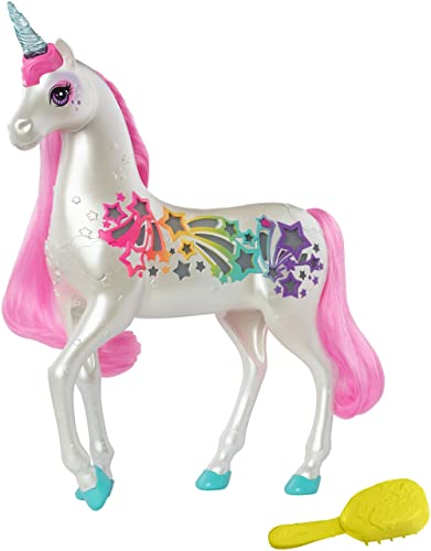 Barbie Dreamtopia Brush 'n Sparkle Unicorn with Lights and Sounds, White with Pink Mane and Tail, Gift for 3 to 7 Year Olds