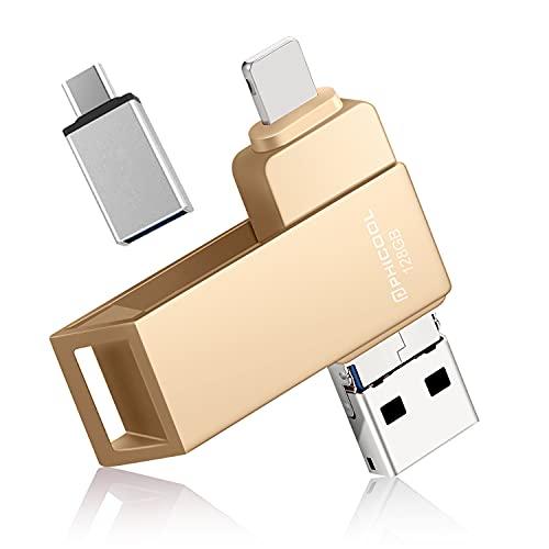 USB Stick Kompatibel für iPhone 128GB Externer Speicher PHICOOL Speichererweiterung Flash Laufwerks Photo Stick für iPhone iPad iOS MacBook OTG Android Handy Computer Laptop Thumb Drive - golden