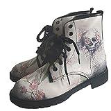 Botas Impermeables con Cordones de Tobillo con Punta Redonda para Mujer, Zapatos de Cuero de Moda para Mujer, Botines con Estampado de Calavera (Color : Grey, Size : 37)