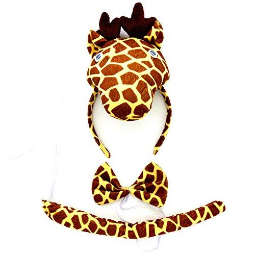 Lovelegis Jirafa - Diadema de lotos - Cola - Pajarita - Animales - Mujer - nios - Disfraz - Disfraz - Carnaval de Halloween - Cosplay - Accesorios - Idea de Regalo