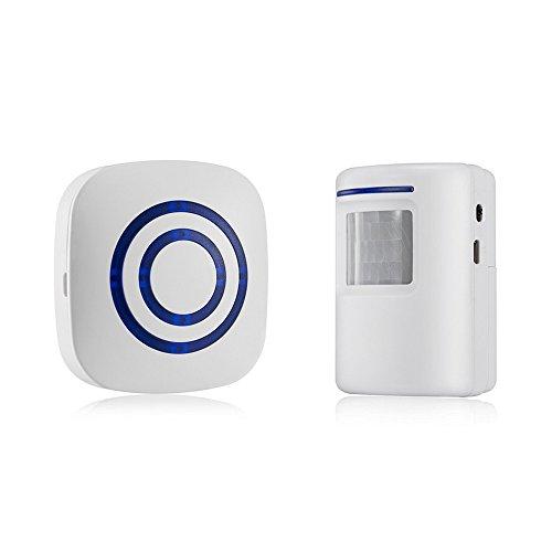 OWSOO Timbre Inalámbrico con 1 Transmisor 1 Receptor Sensor de Movimiento Infrarrojo PIR Alarma de Inducción Timbre de Bienvenida