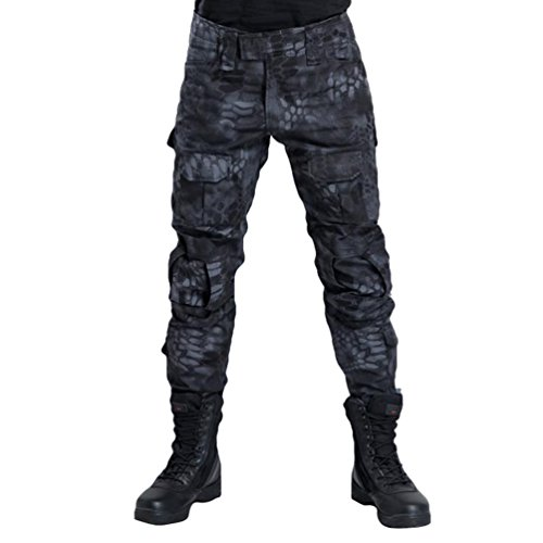 YuanDian Herren Frösche Schlank Passen Tarnung Airsoft Taktisch Militär T-Shirt Militärhose Sets Langarm Camo Armee Top + BW Feldhose Outdoor Camping Uniform Schwarz Pythonmuster Hose 32