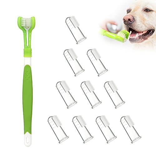 Haustier Zahnbürste Set, Hundezahnbürste Zahnreiniger 10 Weiche Silikon Fingerzahnbürste, Pet Fingerzahnbürste Dentalhygiene-Bürsten Naturkautschuk Finger Zahnbürsten für Hund und Katze