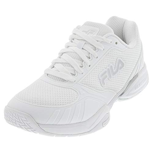 Fila Men's Volley Zone Pickleball Shoe (White/Metallic Silver/White, 11.5)