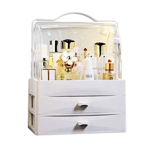 XYZMDJ Organizador de Maquillaje, joyería Moderna y Cajas de presentación de Almacenamiento cosmético con asa, diseño a Prueba de Polvo a Prueba de Agua Ideal para baño, tocador, tocador y enc