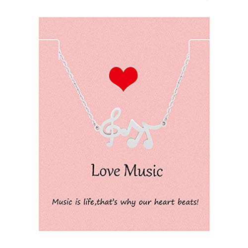 Your Always Charm Music Lover Gifts,Treble Clef Music Note Necklace 16'-18' (silver)