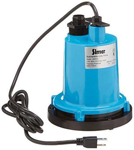 Simer 2300-04 1/4 HP Submersible Utility Pump, Geyser Classic, Heavy-duty Cast Aluminum, Includes Garden Hose Adapter, 1-1/4' Male NPT Discharge Pipe, 1320 GPH, 115V, 8-Feet Power Cord