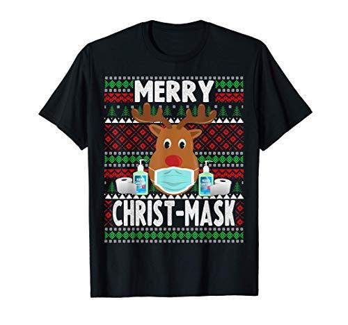 Natale 2020 - Divertente maschera natalizia con renna Maglietta