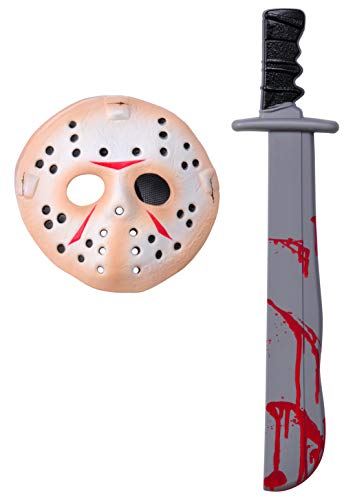 Rubie's Men's Friday The 13Th Jason Voorhees Mask And Machete Set, Standard, White