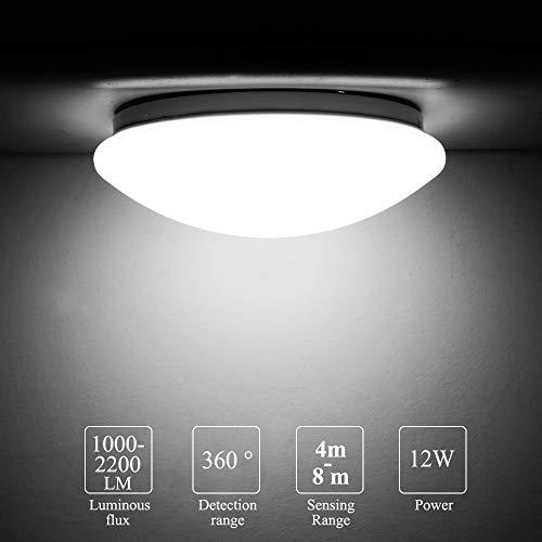 LED-Deckenleuchte mit Bewegungssensor, MOSINITTY 12W 1000-2200LM Runde Deckensensorleuchte, 8 m Erfassungsbereich 360-Grad-Erfassungsbereich Unterputz-Deckenbeleuchtung für Garagenbäder
