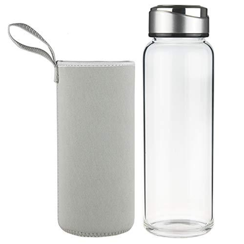 SHBRIFA Botella de Agua de Vidrio de Borosilicato 1000ml / 1500ml, Botella de Agua de Cristal con Funda de Neopreno y Tapa de Acero Inoxidable a Prueba de Fugas(1000ml Gris)