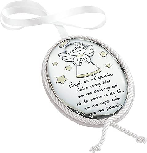 Regalos Más de Más - Medallón de cuna musical con Aplique Bilaminado en Plata de Ley 925‰. Disponible en color Azul, Blanco y Rosa. (Blanco)
