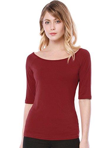 Allegra K Damen Slim Fit Halbarm Rundhals Einfarbig Top Bluse Rot XL