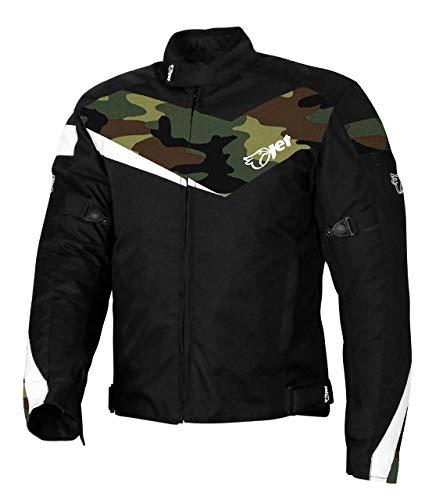 JET Blouson Veste Moto Cyclomoteur Scooter Homme Homologué Armure Textile Poids Léger De Base ECONOTECH (Camo Vert, S (EU 46-48))