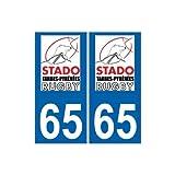 65 Tarbes Rugby Stado TPR autocollant logo2 plaque sticker - Angles : arrondis