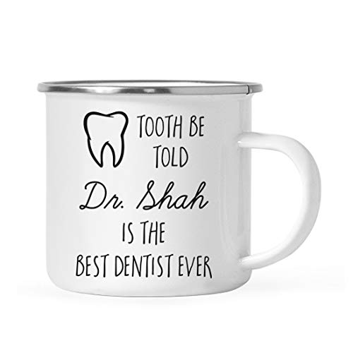 Andaz Press Personalized Custom 11oz. Graduation Stainless Steel Campfire Coffee Mug Gift, Tooth be Told Dr. Clark is The Best Dentist Ever, 1-Pack, Includes Gift Box