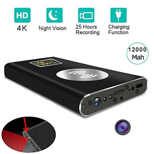 WFGZQ Mini-Videokamera, versteckt, Spion Power Bank, 4 K HD, kabellos, versteckte Kamera, mit langer Aufnahmezeit, IR-Kamera, WiFi, Stromversorgung über Akku, für Innen und Außen