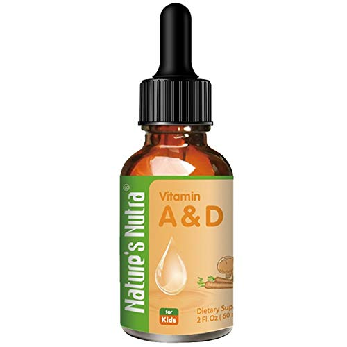 Natures Nutra Vitamin A&D, 2 Fl. Oz (60ml), Premium Baby and Infant Liquid Drops, Toddlers Kids Children Multivitamin Supplement, No Fishy Smell, Maximum Absorption